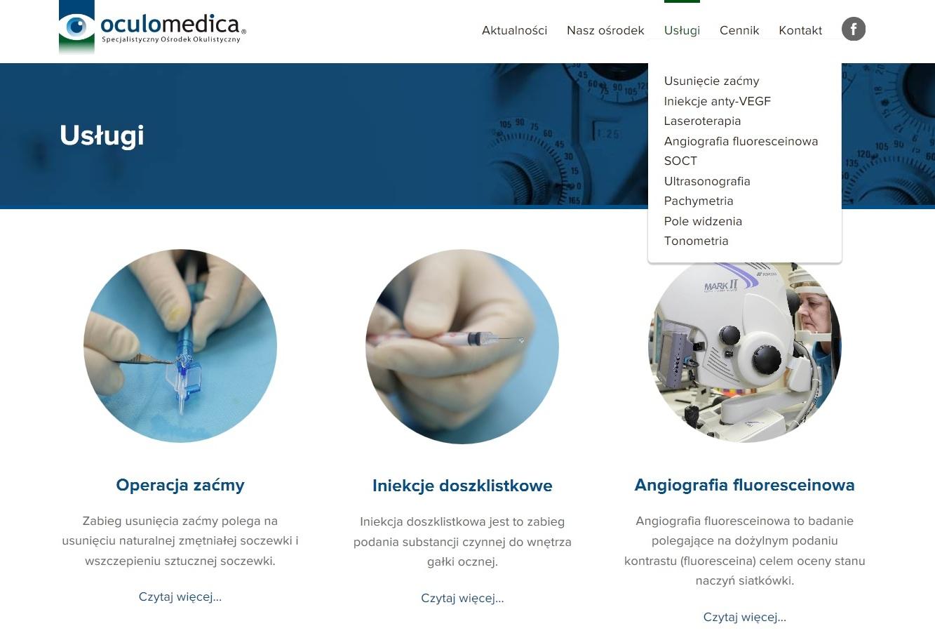 Oculomedica - Nowa strona internetowa